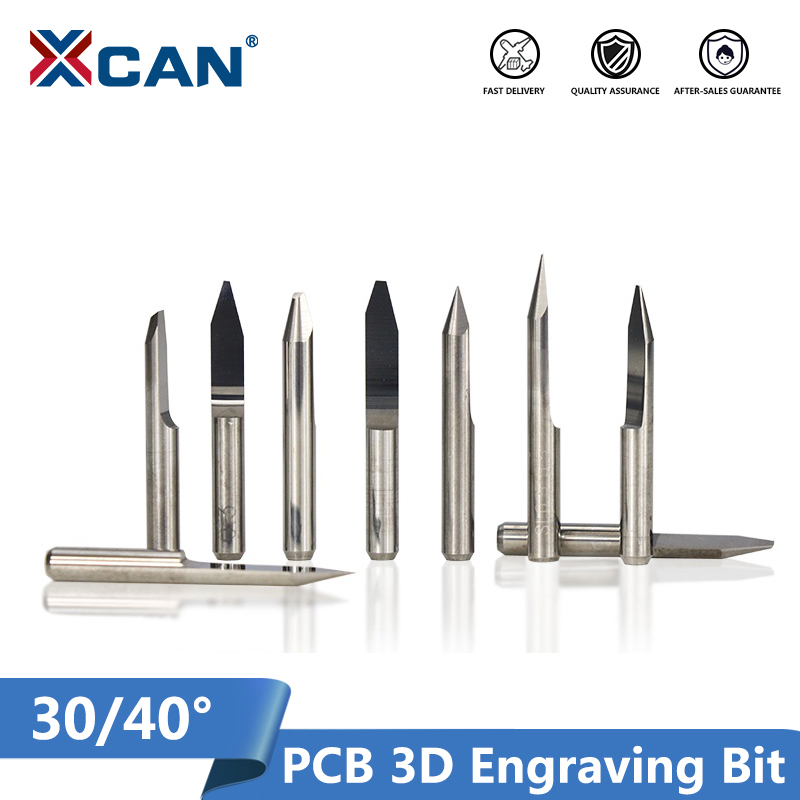 XCAN 10pcs 30 40 Degree V Shape Milling Cutter 3.175mm(1/8'') Shank Carbide PCB Engraving Bits CNC Router Tool