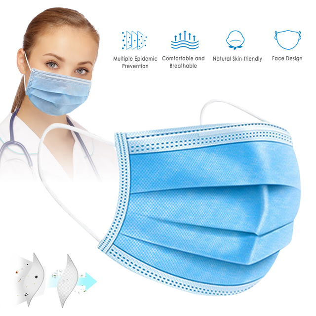 In stock! 50 Pcs Disposable Face Mask Non-woven 3 Layer Anti-Pollution Dust-Proof Haze Anti-Flu Earloop Safety Masks Pk FFP3 N95 2