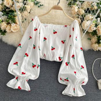 Spring And Autumn Cherry Print Square Neck Top Womens French Retro One-shoulder Puff Sleeve Short Cute Long Shirt