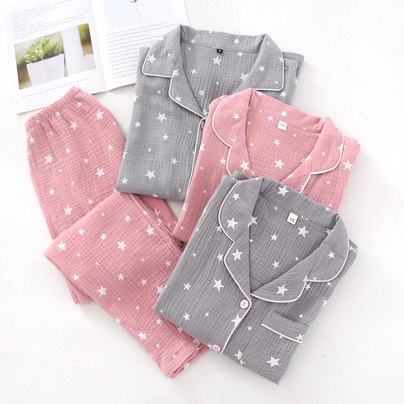 Spring New 100% Cotton Long-sleeved Trousers Pajamas Pentagram Printing Pijama Mujer Crepe Women and Men Thin Home Clothes 2 Set