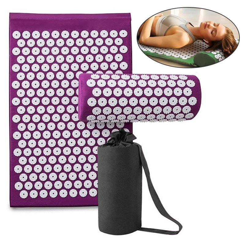 VIP Massage Mat Acupressure Mat Yoga Lotus Spike Relieve Back Body Pain Spike Applicator Yoga Mat Bag Pranamat