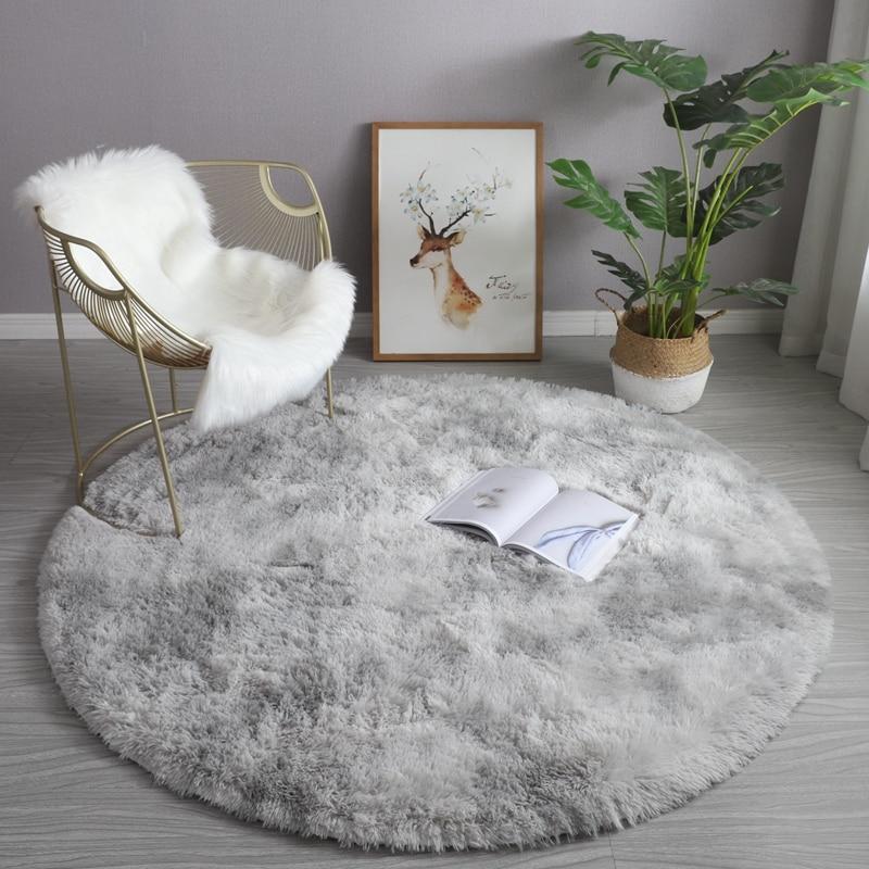 Circle Rug Furry Carpet Room-Decor Nursery-Room Fluffy Baby for Kid Shaggy-Circular-Rug