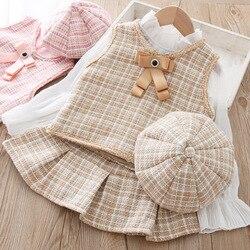 Meninas roupas de moda conjunto colete crianças plissado saia chapéu 3 peças terno para o bebê xadrez jaqueta outfit outono crianças bonito pano
