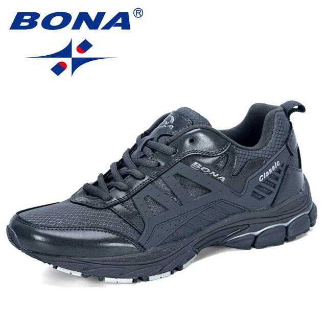 BONA 2019 Yeni Tasarımcı koşu ayakkabıları Erkekler Zapatillas Hombre Deportiva Yüksek erkek ayakkabı Eğitmen Sneakers Koşu yürüyüş ayakkabısı