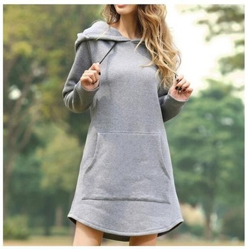 Women Loose Dress Cap Long Sleeve Hooded Long Sleeve Loose Casual Plus Size Dress Retro Ladies Pocket Tube Midi Dress Plus Size long sleeve geometric plus size mini dress