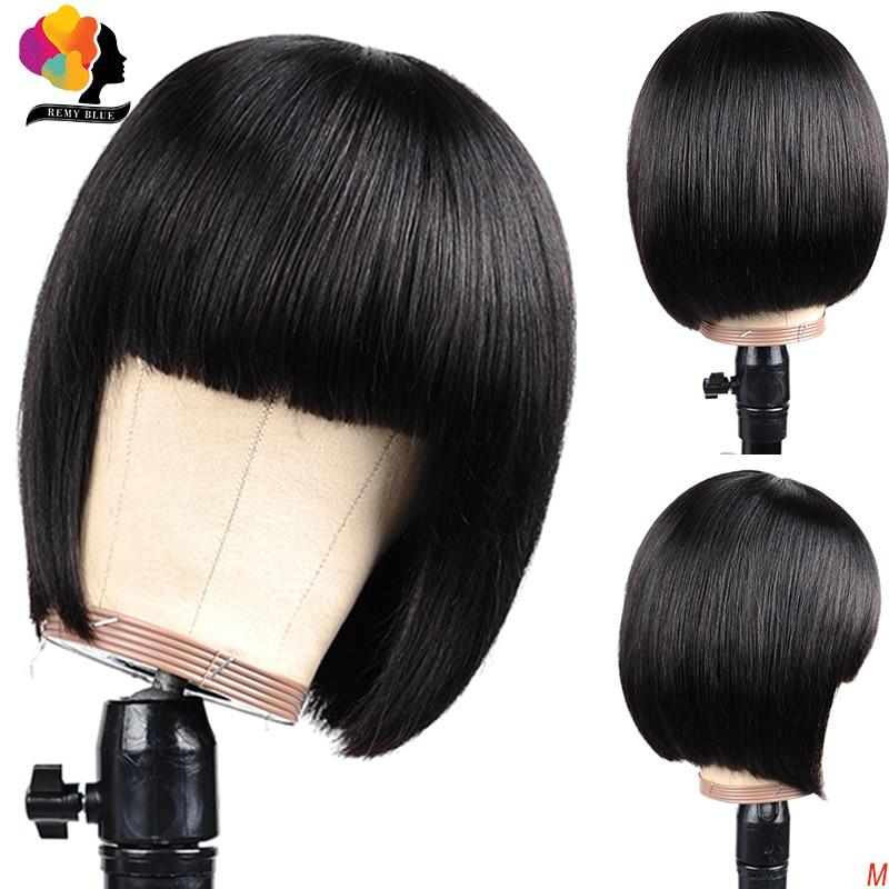 Straight Bob Human Hair Wigs With Bang Pre Plucked Peruvian Remy Hair Short Bob Human Hair Wigs Remyblue Full Machine Wig 150