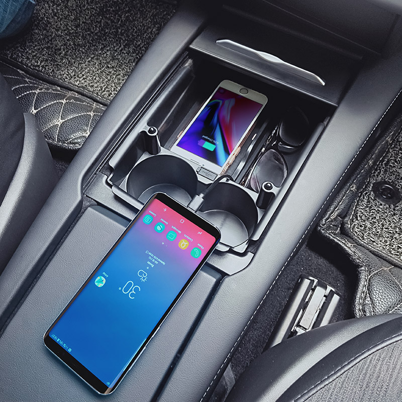 Model S/X Wireless Charger, QI Wireless Phone Charging Pad Car Center Console Storage Cup Holder For Tesla Model S/X 2017-2019