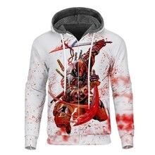 Cloudstyle Winter Mens Fleece Hoodies 3D printed Comic Deadpool Hooded Thick Hoodie Long Sleeves Cool Coat Streetwear