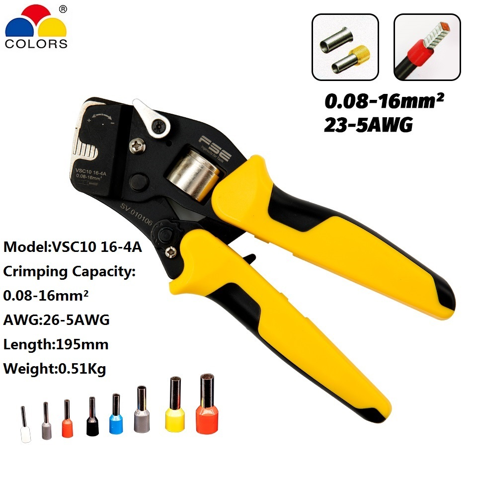Hand Tools Mini-type Self-Adjustable Crimping Plier VSC10 16-4A Special 23-5AWG Four-sided Crimp Tweezers Knife