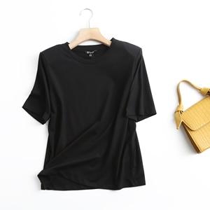 Увядшая модная простая однотонная Повседневная летняя футболка в английском стиле с наплечниками, женские летние футболки, Женские топы из 2021100% хлопка|Футболки|   | АлиЭкспресс