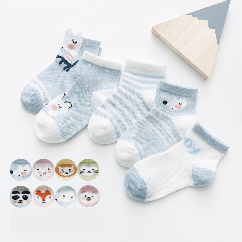 5Pairs/lot Cute Cartoon Baby Socks Breathable Mesh Cotton Baby Boy Socks Thin Summer Baby Girl Socks Newborn Infant Clothing