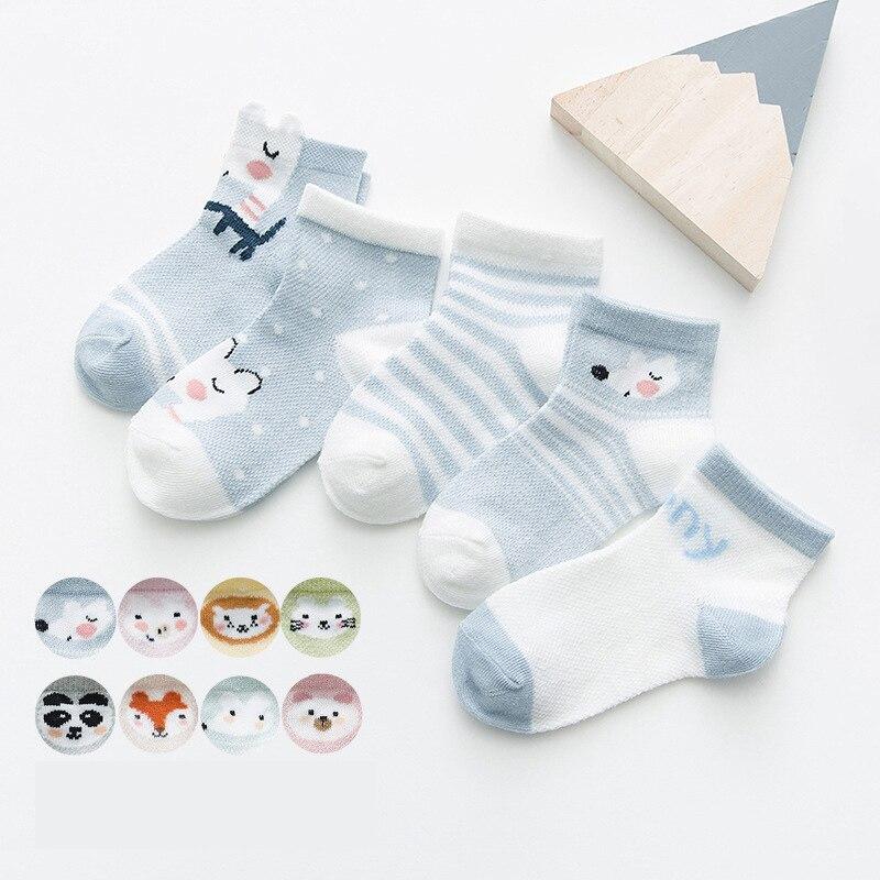 5Pairs/lot Cute Cartoon Baby Socks Breathable Mesh Cotton Baby Boy Socks Thin Summer Baby Girl Socks Newborn Infant Clothing