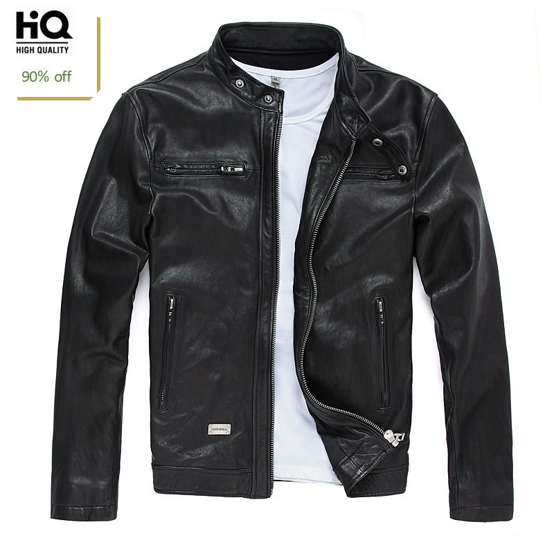 2020 New Autumn Mens Sheepskin Jackets Fashion Solid Genuine Leather Short Jacket Streetwear Slim Fit Black Biker Jacket Male