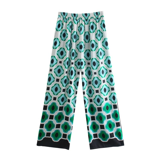 TRAF Women 2021 Fashion Geometric Graphic Print Trousers Retro High-Waist Drawstring Side Pockets Women's Trousers Streetwear 3
