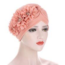 Moda feminina diamantes flor turbante boné soild cor muçulmano headscarf gorro interior hijabs árabe cabeça envolve chapéu indiano