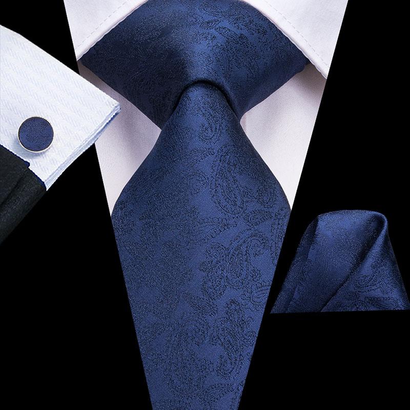 Hi-Tie 100% Silk Floral Navy Paisley Men's Tie Set 8.5cm Wedding Ties For Men New Design Hanky Cufflinks Top Quality Necktie