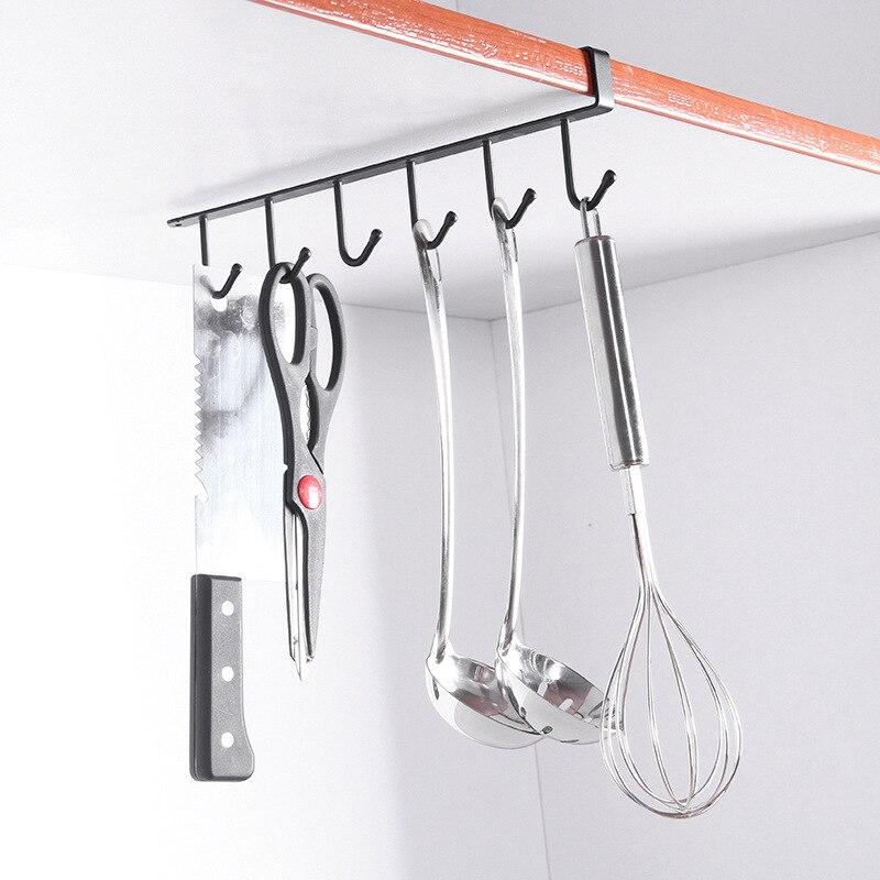 6-Hook Iron Hanging Hooks Kitchen Cabinet Storage Rack Cupboard Cup Cooker Towel Storage Dish Hanger Shelf