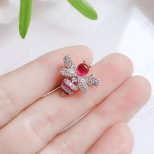 Baoyocn Tinggi Kualitas 925 Sterling Silver Red Bee Bros Inlay Cubic Zirconia Batu Serangga Bros Fashion Wanita Perhiasan(China)