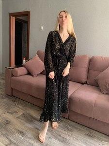 Image 3 - Элегантное шифоновое женское длинное платье с оборками, весеннее сексуальное платье макси со звездным принтом и V образным вырезом, вечернее празднивечерние женское платье, платья