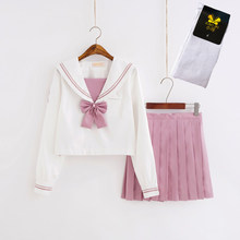Japanse Jk Uniform Roze Magnolia Borduren Matrozenpakje Student College School Uniform Lange Mouw Pak Vrouwen Plooirok(China)