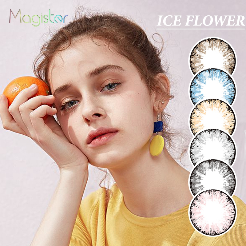 ICE FLOWER Series Colored Contact Lenses Annually Color Contact Lens 14.2mm Colored Contacts Eyes Decoration Beautiful Pupil(China)