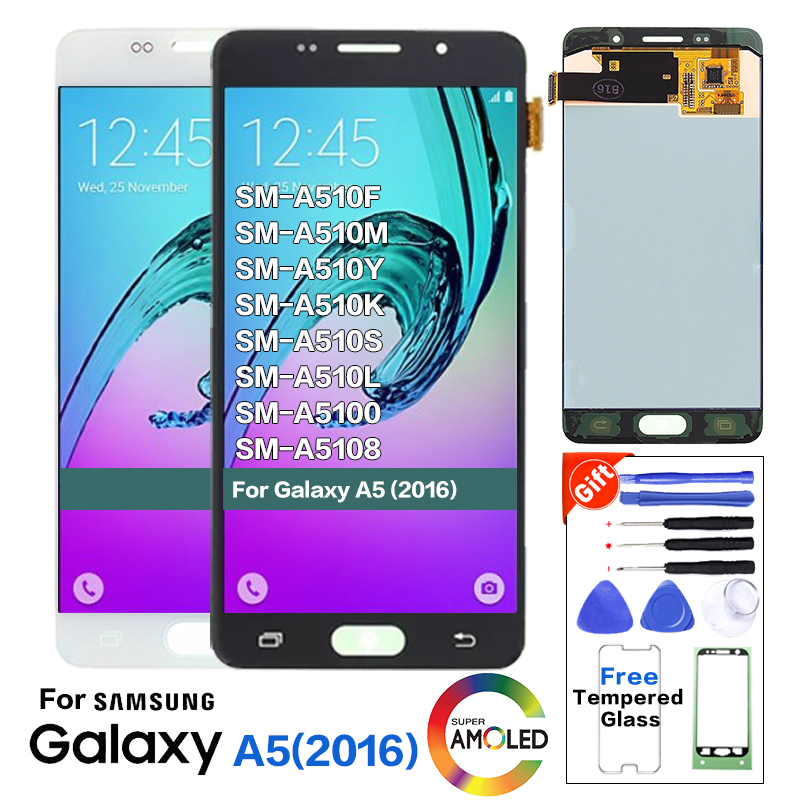 Original For <font><b>SAMSUNG</b></font> <font><b>Galaxy</b></font> A5 2016 <font><b>A510</b></font> A510F <font><b>LCD</b></font> Display Screen replacement for <font><b>Samsung</b></font> A5100 <font><b>lcd</b></font> screen with burn shadow image