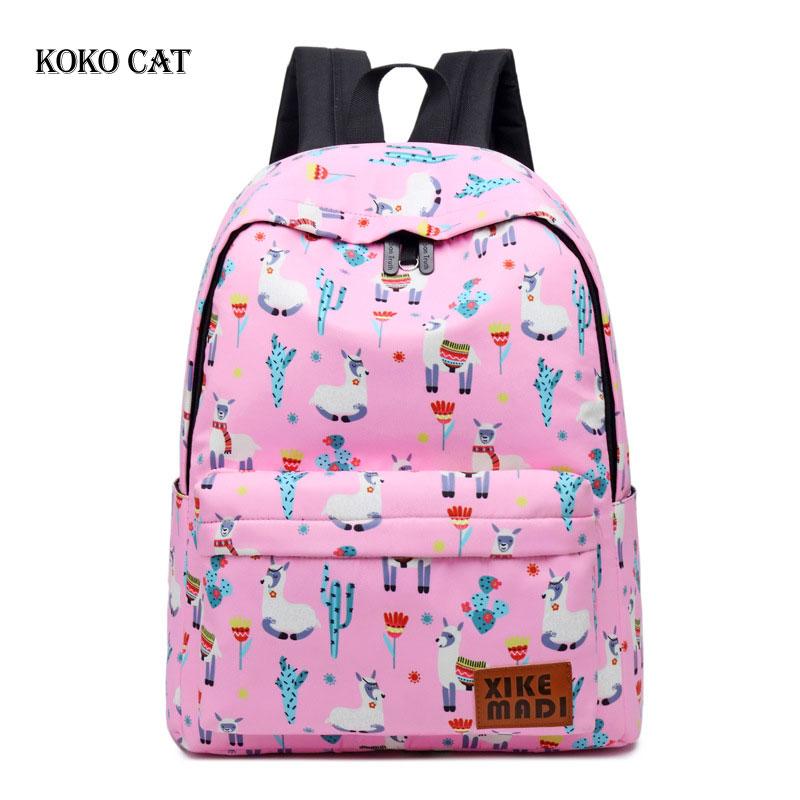 Classic Alpaca Printed Backpack For Teenagers Girls Waterproof Pu School Bags Leisure Female Back Pack Bag Mochila Bolsos Mujer