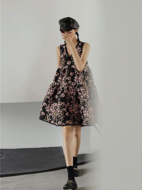 Nbpm Women's Dress High Waist Weet Sleeveless Flower Pattern New 2021 Winter Spring Women Dresses 3