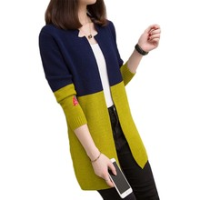 Spring Autumn New Knit Sweater Cardigan Women Jacket Korean Long Sleeve Wild Color Matching Mid-Length Loose  Female Tops D3056