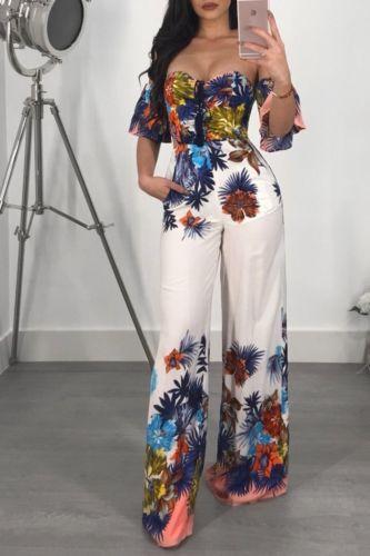 Meihuida Fashion Women Summer Floral Sleeveless Off Shoulder Jumpsuit Backless Wide Leg Backless Playsuit Casual Bodysuit