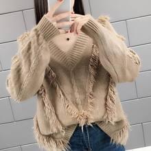 Camisola de malha com franjas com decote em v camisola feminina de mangas compridas topos de inverno camisola preguiçosa feminina pulôver solto