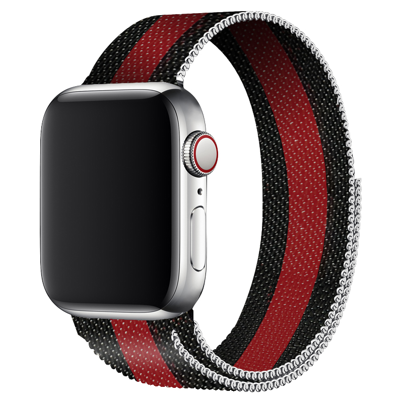 Milanese Loop Band Black Red Design For Apple Watch 42mm Bands Series 3 Metal Band Brazaletes Strap 40mm 44mm For Iwatch 4