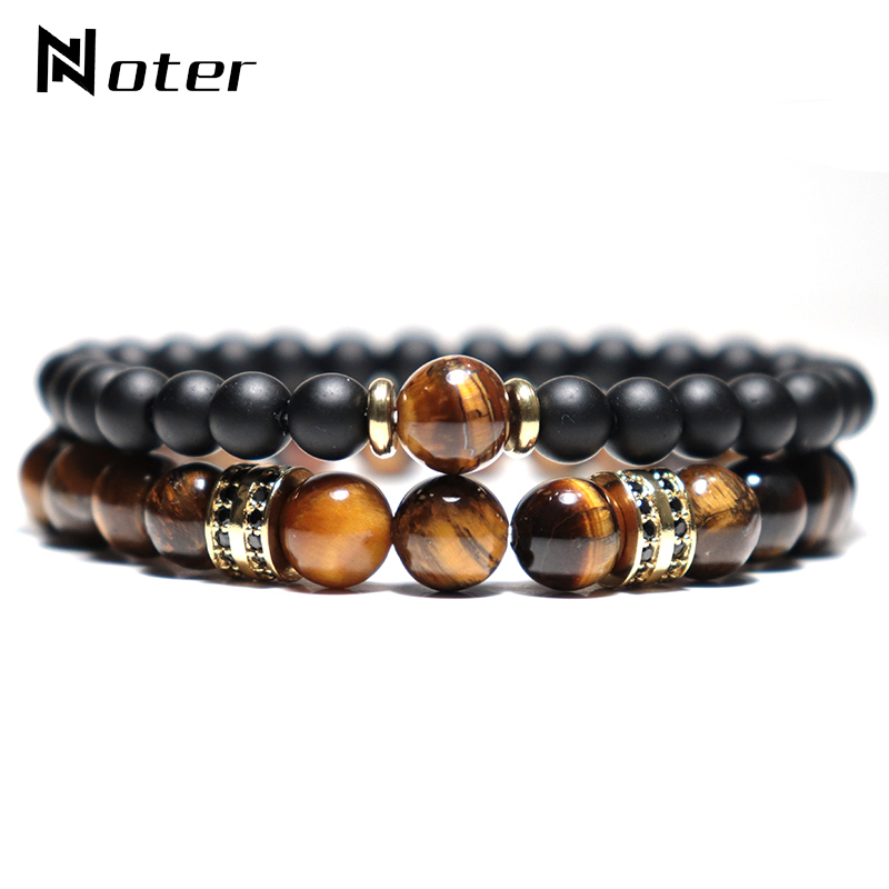 Noter 2pcs/pair Mens Bracelet Natural Tiger eye Beads Braslet Luxury Zirconia Strand Brazalete Male Accessories Boyfriend Gift