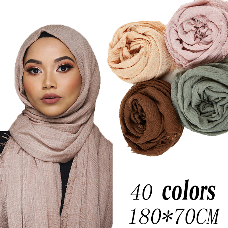 Wholesale 70*180cm Women Muslim Crinkle Hijab Scarf Femme Musulman Soft Thin Cotton Headscarf Islamic Hijab 10pc/lot