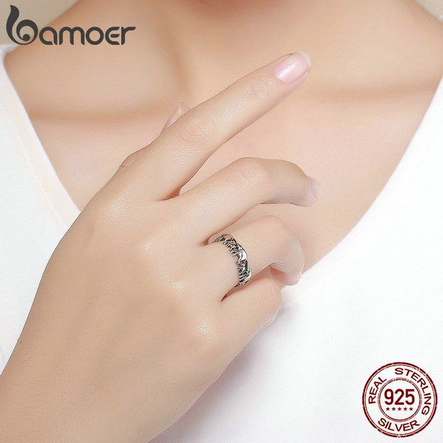 BAMOER 925 Sterling Silver Stackable Animal Collection Elephant Family Finger Rings for Women Jewelyr SCR344 5