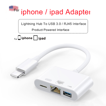 INGELON Lightning To HDMI Cable RJ45 Ethernet USB iphone hub adapter 3 in 1 For RJ45 HDMI dock Connect keyboard Camera Projector