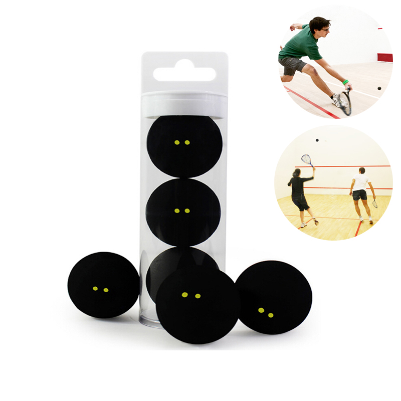 Squash Rubber Ball Two-Yellow Dots Low Speed Sports Rubber Balls Professional Player