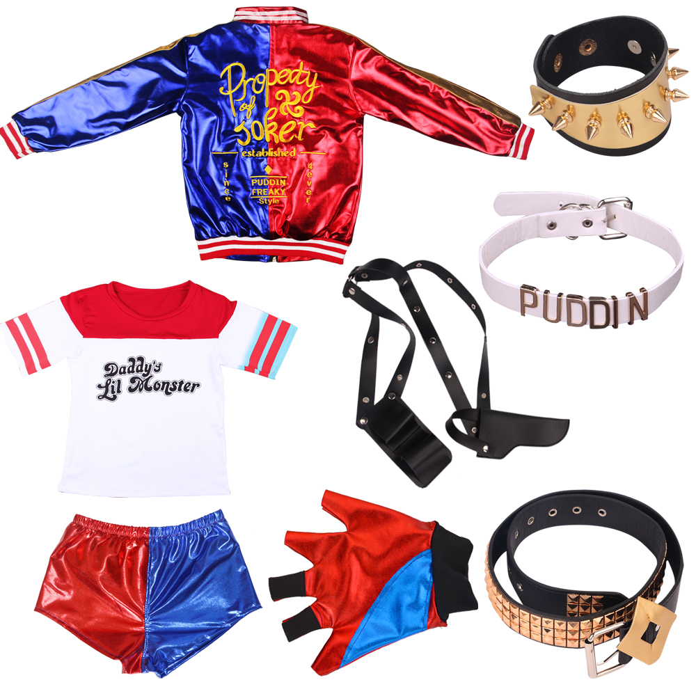 Halloween Holiday Suicide Squad Harley Quinn Cosplay Costume Adult Women Coat T-Shirt Joker Shorts Gloves Movie Party Top Jacket