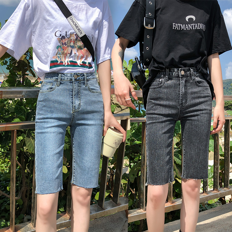 Black Jeans Woman Cropped Pants Women's Summer 2020 New Spring High Waisted Short Feminino Jeans Casual Blue