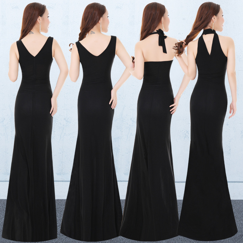 Evening Show Sexy Sheath Black And White With Pattern Late Formal Dress Long Skirts 2019 New Style Banquet Party Ball-Style Form