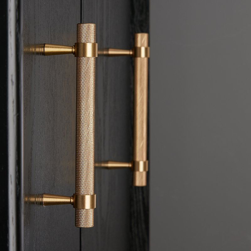 Gold/Black Knurled/Textured Kitchen Handles And Knobs Drawer Pulls Bedroom Knobs Solid Brass T Bar Cabinet Hardware