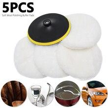 5Pcs Universal Polierer Buffer kit Weiche Wolle Motorhaube Pad Weiß Auto Polierer Auto Körper Polieren Discs Zubehör Für 7 zoll