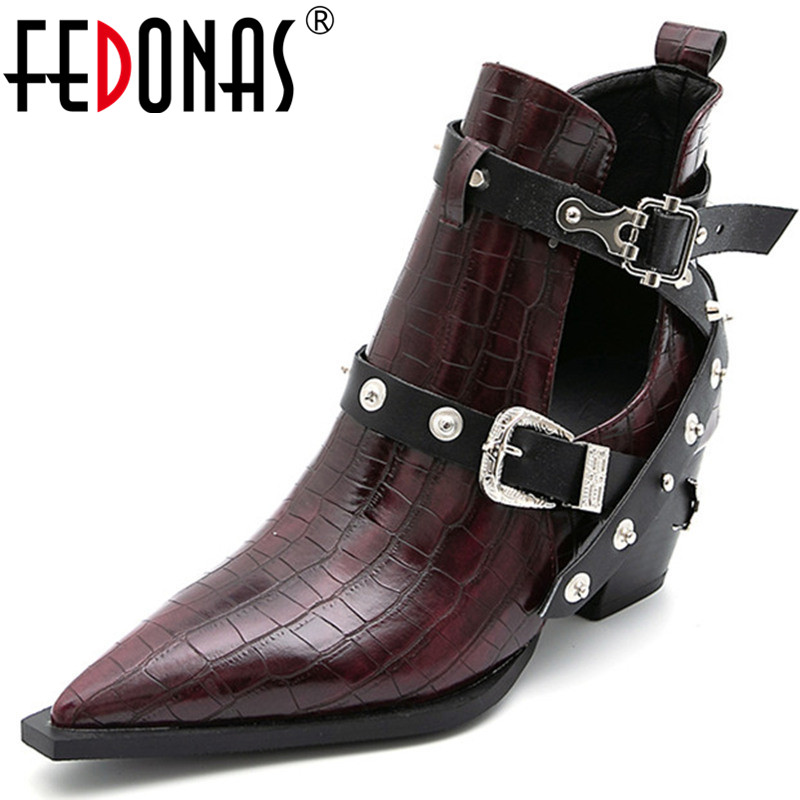 FEDONAS Women Night Club Sexy Pumps Pu Metal Decoration Side Buckle Shoes Slip On 2020 Concise Casual Spring Summer Shoes Woman
