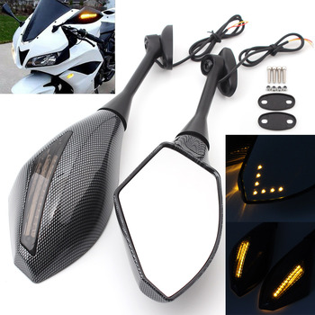Motorcycle Rear View Side Mirrors W/ LED Turn Signal Indicator For Honda CBR600/1000RR CBR 250 300 500 R Suzuki Yamaha Triumph image