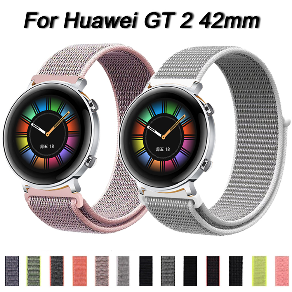 For Huawei Watch GT2 GT GT 2 42mm 46mm Woven Nylon Loop Band Wrist Bracelet Belt 22mm 20mm Watch Strap Band Loopback Breathable