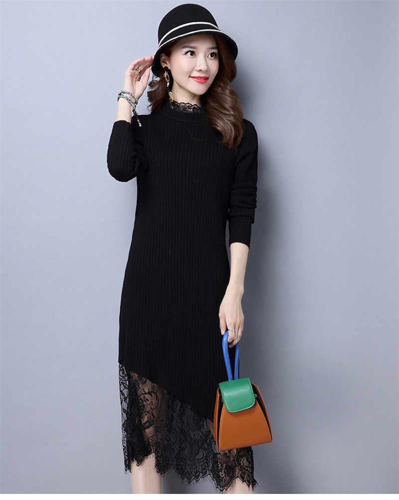 אופנה 2020 סתיו החורף סרוג שמלת נקבה ארוך Slim סוודר תחרה שמלות Vestido מזדמן נשים של בגדי WXF545