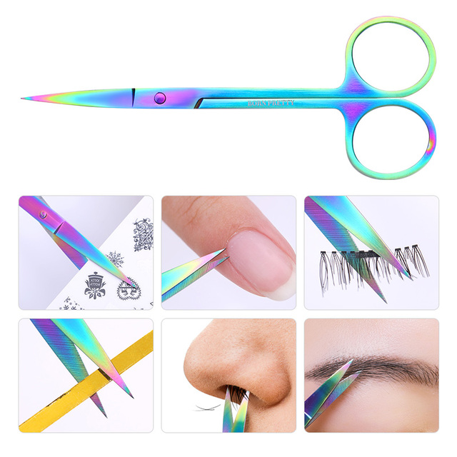 BORN PRETTY Nail Scissor Nails Cuticle Remover Tools Stainless Steel High Precision Staight Head Eyebrow Trimmer Scissors 1 Pc 4