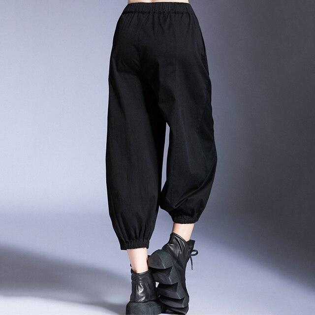 [EAM] Hohe Elastische Taille Schwarz Kurze Freizeit Harem Hosen Neue Lose Fit Hosen Frauen Mode Flut Frühling Sommer 2020 1U940