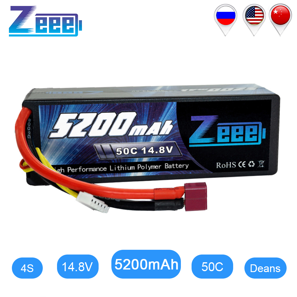 Zeee 5200mAh RC Battery For RC Car 4S RC LiPo Battery LiPo 14.8V 4S 50C With Deans Plug For RC Helicopter Car Boat Truck