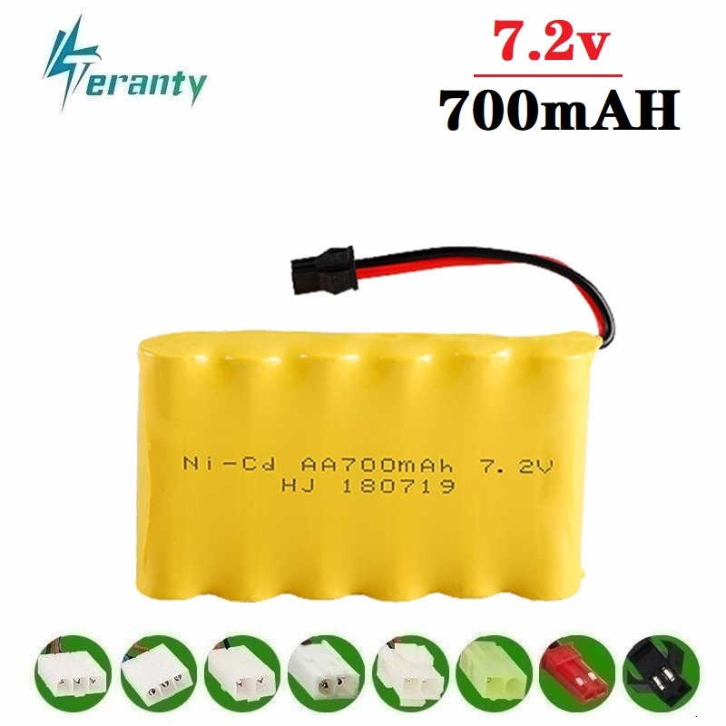 Upgrade 7.2v 700mah NiCD Battery For Rc Toys Cars Tanks Trucks rc Robots Guns Boats AA Ni-CD 7.2v Rechargeable Battery Pack 1pcs